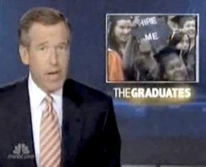There I am on Nightly News with Brian Williams-- waving the cap.
