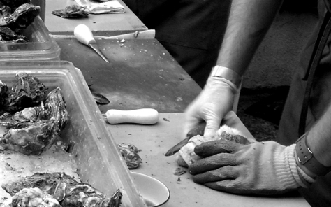 Shucking Oysters at L&E Oyster. [1637 Silver Lake Blvd, Los Angeles, CA 90026]