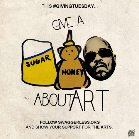 This #GivingTuesday, give a _ _ _ _ about art and follow Swaggerless.org to show your support for the arts.